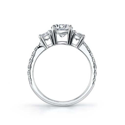 Semi-Mount 18K White Gold Three Stone Engagement Ring with 0.31ctw Round Diamonds