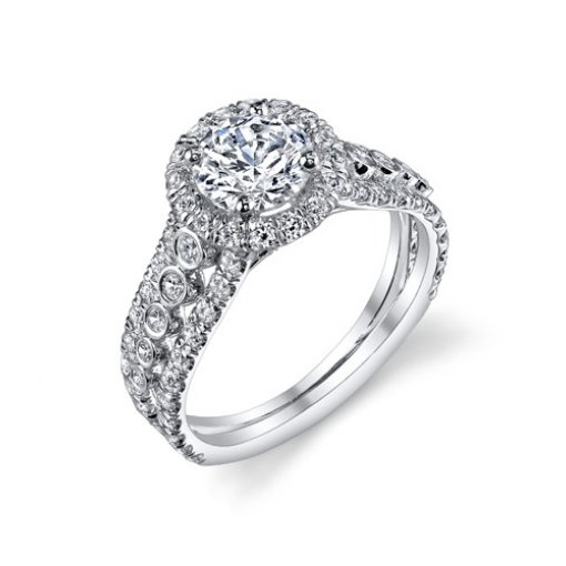 Semi-Mount 18K White Gold Halo Engagement Ring with 1.13ctw Round Diamonds