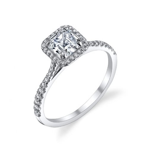 Semi-Mount 18K White Gold Halo Engagement Ring with 0.23ctw Round Diamonds