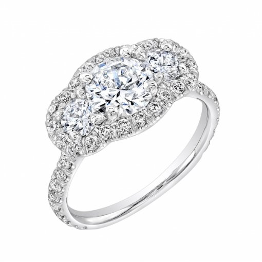 Semi-Mount 18K White Gold Halo Engagement Three Stone Ring with 0.63ctw Round Diamonds