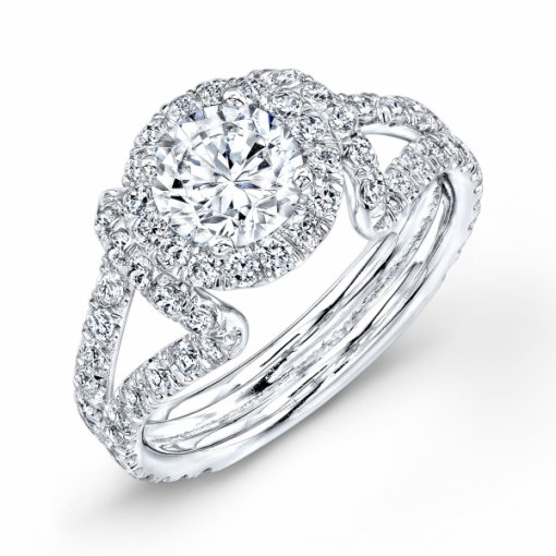 Semi-Mount 18K White Gold Halo Engagement Ring with 1.10ctw Round Diamonds