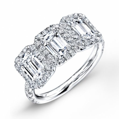 Semi-Mount 18K White Gold Halo Engagement Three Stone Ring with 0.70ctw Round Diamonds