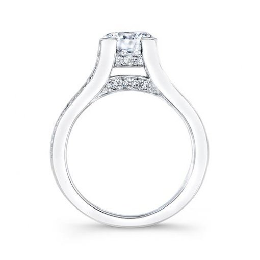 Semi-Mount 18K White Gold Pave Engagement Ring with 0.63ctw Round Diamonds