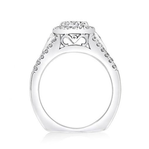 Semi-Mount 18K White Gold Halo Engagement Ring with 0.47ctw Round Diamonds