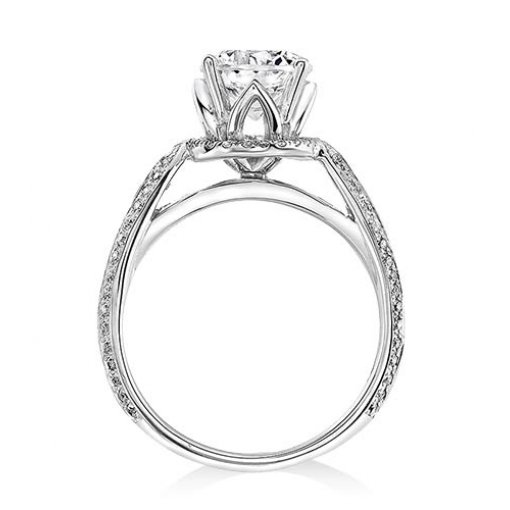 Semi-Mount 18K White Gold Pave Engagement Ring with 0.41ctw Round Diamonds