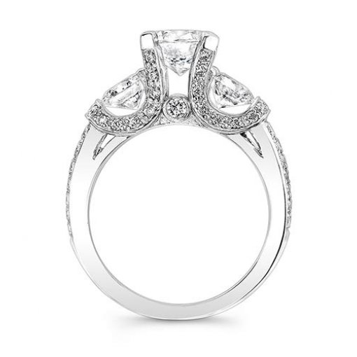 Semi-Mount 18K White Gold Pave Engagement Ring with 0.54ctw Round Diamonds