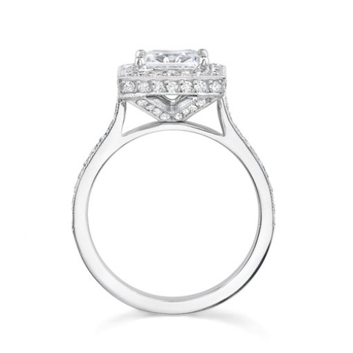 Semi-Mount 18K White Gold Halo and Pave Engagement Ring with 0.75ctw Round Diamonds
