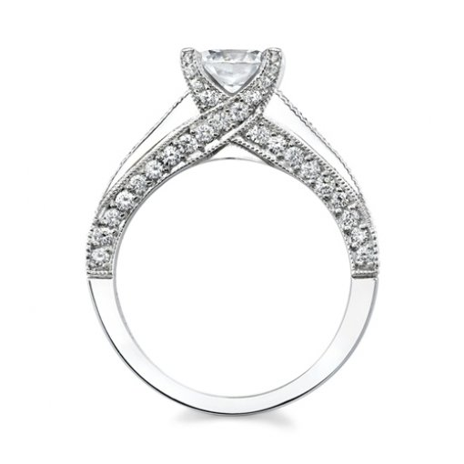 Semi-Mount 18K White Gold Pave Engagement Ring with 0.71ctw Round Diamonds
