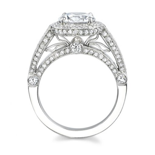Semi-Mount 18K White Gold Pave Engagement Ring with 0.95ctw Round Diamonds