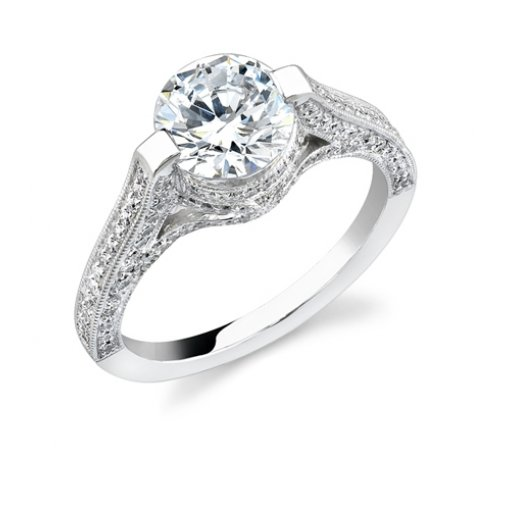 Semi-Mount 18K White Gold Pave Engagement Ring with 0.47ctw Round Diamonds