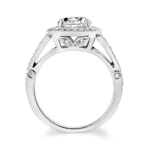 Semi-Mount 18K White Gold Pave Engagement Ring with 0.50ctw Round Diamonds