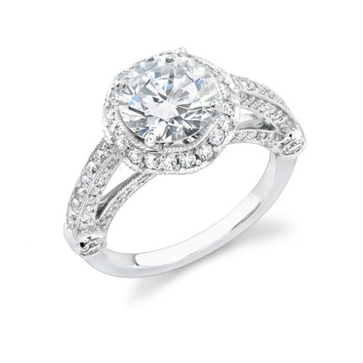 Semi-Mount 18K White Gold Pave Engagement Ring with 1.40ctw Round Diamonds
