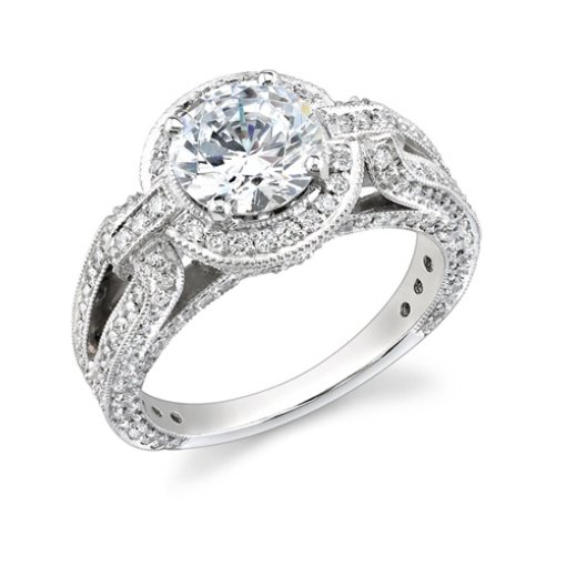 Semi-Mount 18K White Gold Pave Engagement Ring with 1.25ctw Round Diamonds