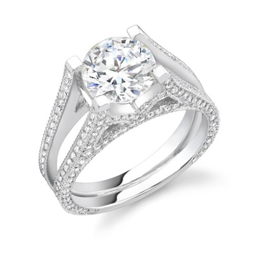 Semi-Mount 18K White Gold Pave Engagement Ring with 0.85ctw Round Diamonds