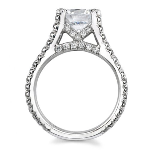 Semi-Mount 18K White Gold Pave Engagement Ring with 1.05ctw Round Diamonds