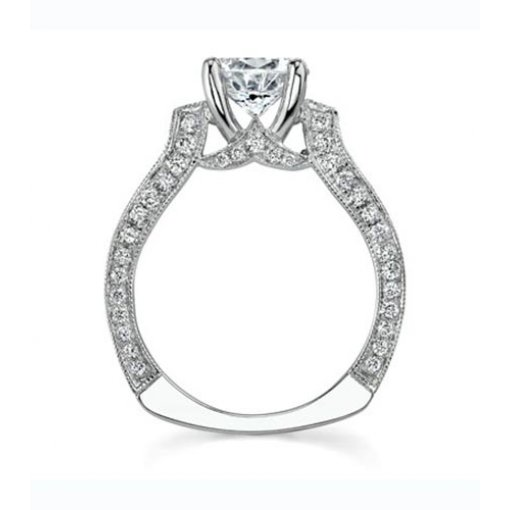 Semi-Mount 18K White Gold Pave Engagement Ring with 0.77ctw Round Diamonds