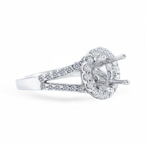 Semi-mount Halo style split-shank in white gold with French pave set round diamond