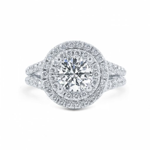 Semi-mount Double-halo with french pave set.