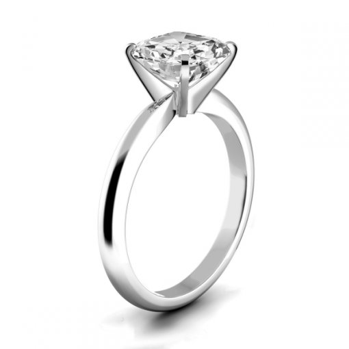 Timeless Four-Prong Asscher Solitaire Engagement Ring Setting