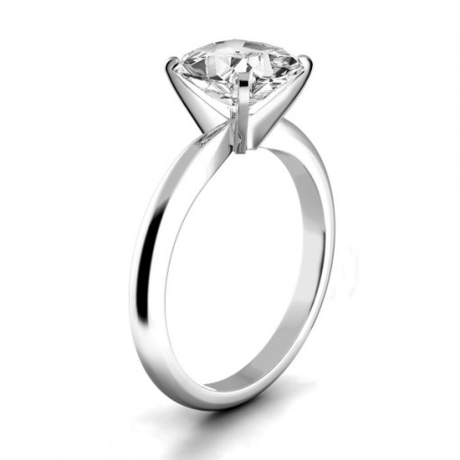 Timeless Four-Prong Cushion Solitaire Engagement Ring Setting