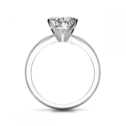 Timeless Four-Prong Heart Solitaire Engagement Ring Setting