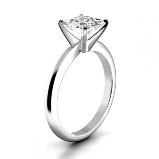 Timeless Four-Prong Princess Solitaire Engagement Ring Setting