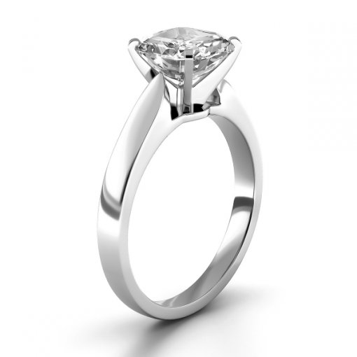 Cathedral Solitaire Engagement Ring Setting For Asscher Cut Diamonds