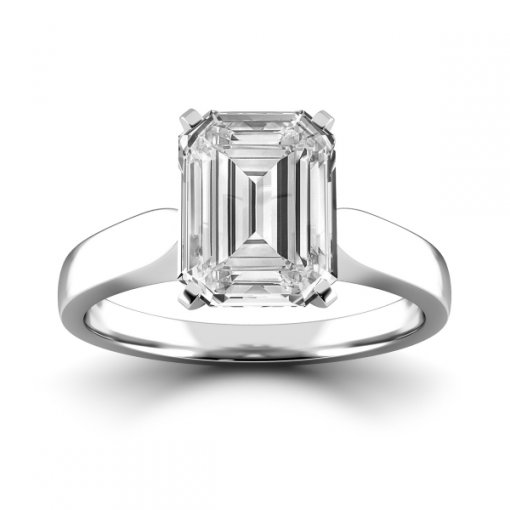 Cathedral Solitaire Engagement Ring Setting For Emerald Cut Diamonds