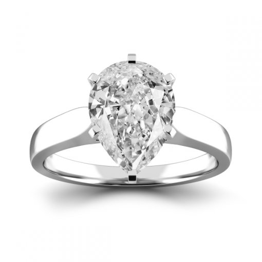 Cathedral Solitaire Engagement Ring Setting For Pear Shape Diamonds