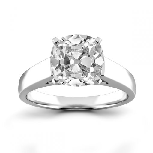 Open Cathedral Solitaire Engagement Ring Setting for Cushion Cut Diamonds