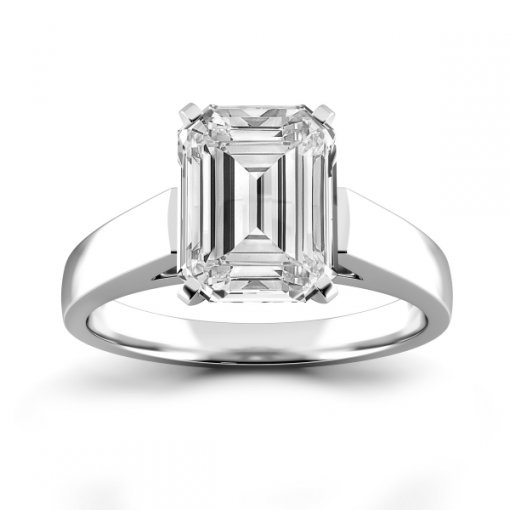 Open Cathedral Solitaire Engagement Ring Setting for Emerald Cut Diamonds