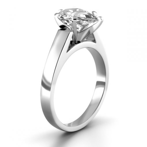 Open Cathedral Solitaire Engagement Ring Setting for Pear Shape Diamonds