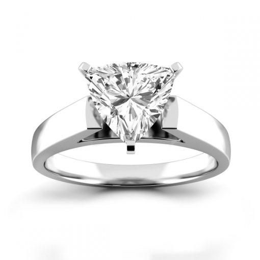 Open Cathedral Solitaire Engagement Ring Setting for Trillion Cut Diamonds