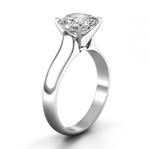 Solitaire Ring Setting for Asscher Cut Diamonds