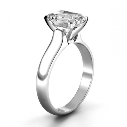 Solitaire Ring Setting for Emerald Cut Diamonds