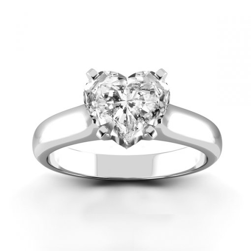 Solitaire Ring Setting for Heart Shape Diamonds
