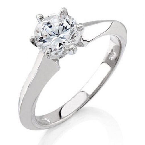 Tapered Knife Edge Solitaire Engagement Ring (Round Center)