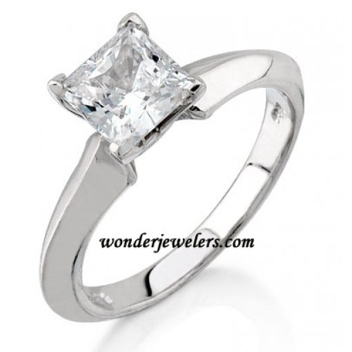 Tapered Knife Edge Solitaire Engagement Ring (Square Center)