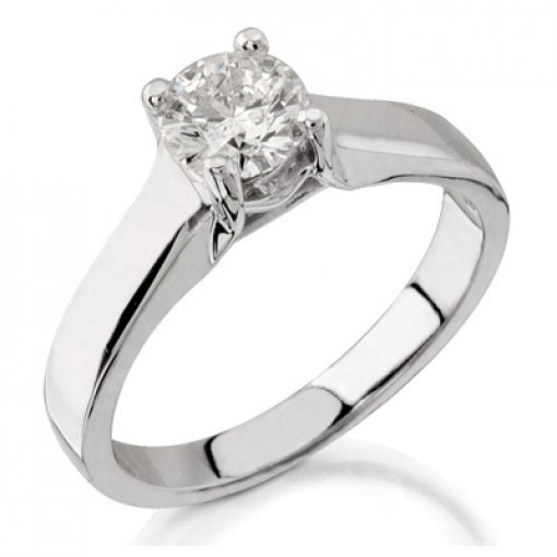 4 Prong Raised Center Solitaire Engagement Ring