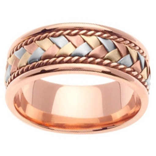 14K Tri Color Rose Pink Yellow White Gold Hand Braided