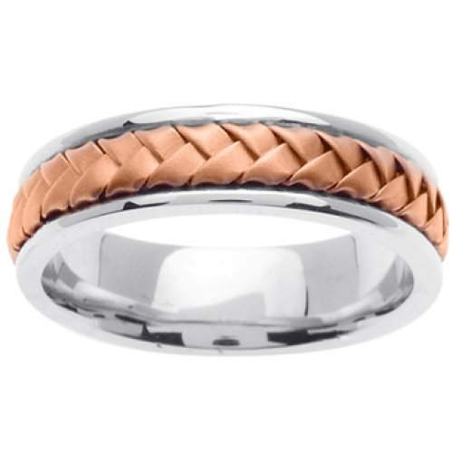 14K Two Tone White Rose Pink Gold Hand Braided
