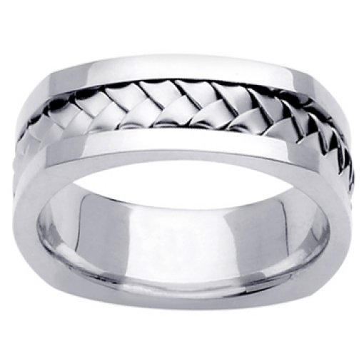 14K White Gold Hand Braided Square Edge