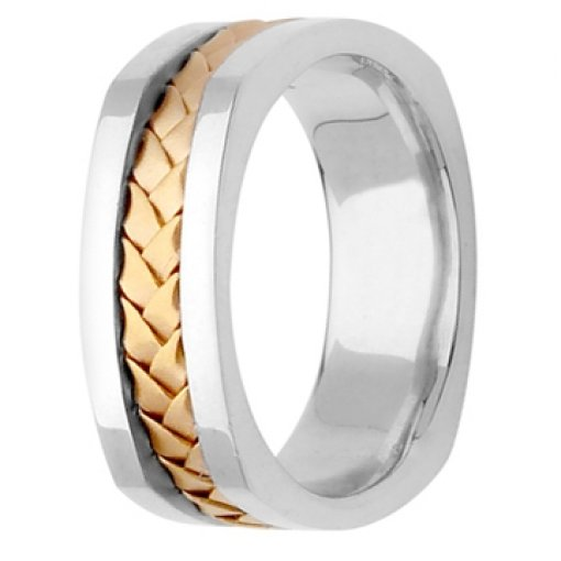 Two Tone White Yellow Gold Hand Braided Square Edge