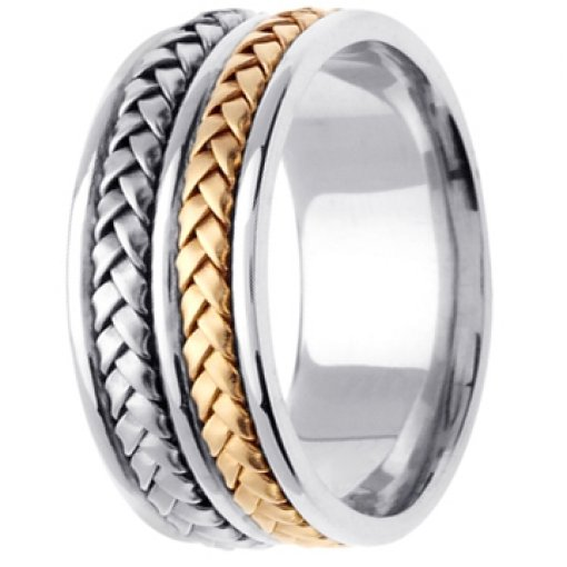 Two Tone White Yellow Gold Double Stack Hand Braided