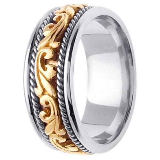 14K Two Tone White Yellow Gold Art Deco Theme