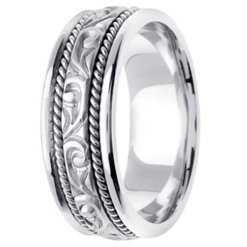 14K White Gold Art Deco Carved Design