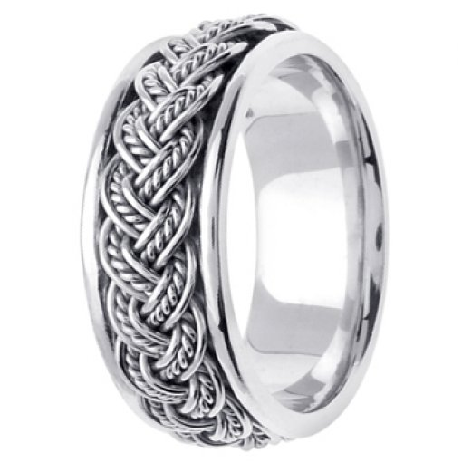 14K White Gold Rope Hand Braided Design