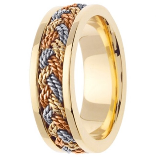 14K Tri Color Yellow White Rose Gold Rope