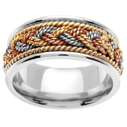 14K Tri Color White Yellow Rose Gold Rope Hand Braided Design