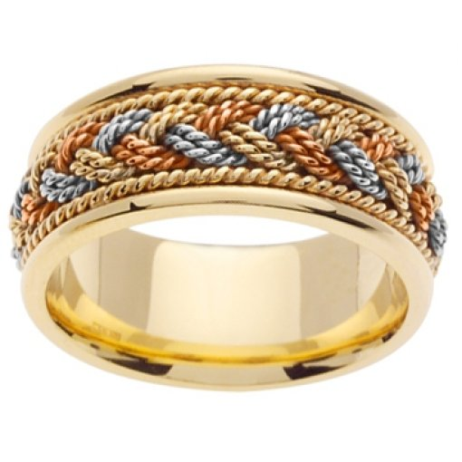 Tri Color Yellow White Rose Gold Rope Hand Braided Design